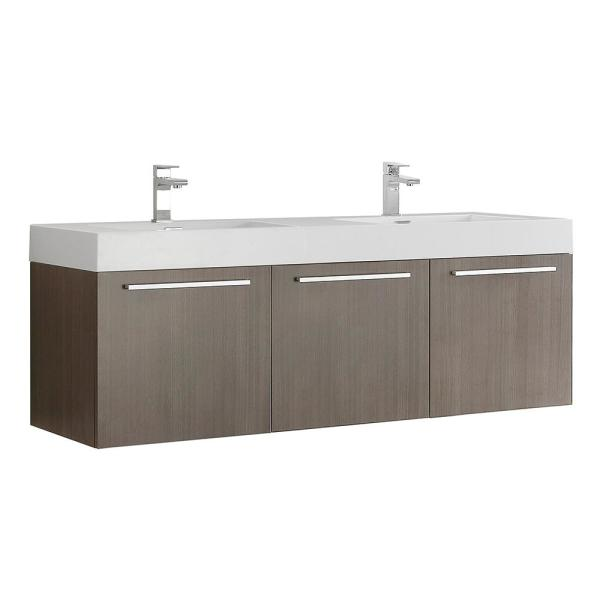 Vista 59 in. Modern Double Bathroom Wall Hung Vanity Cabinet Only in Gray Oak