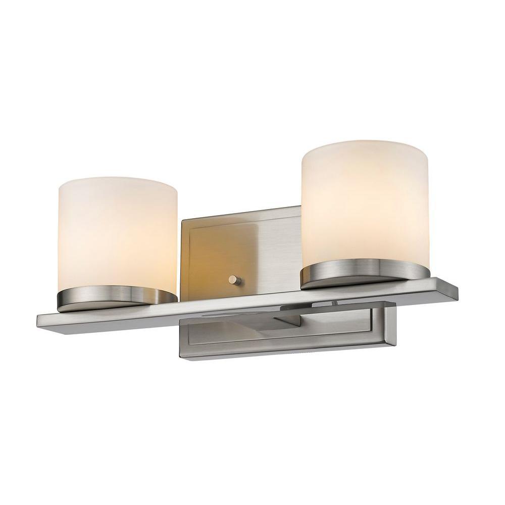 Filament Design Kariya 2 Light Brushed Nickel Bath Vanity Light Cli Jb039108 The Home Depot