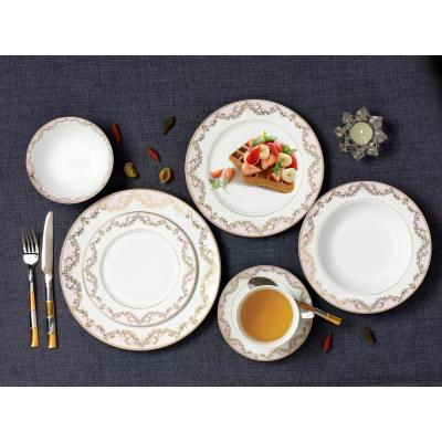 57-Piece Patterned Pink Bone China Dinnerware Set (Service for 8)