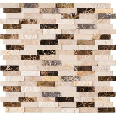 Emperador Blend Splitface Peel and Stick 12 in. x 12 in. x 6mm Marble Mesh-Mounted Mosaic Tile (1 sq. ft.)