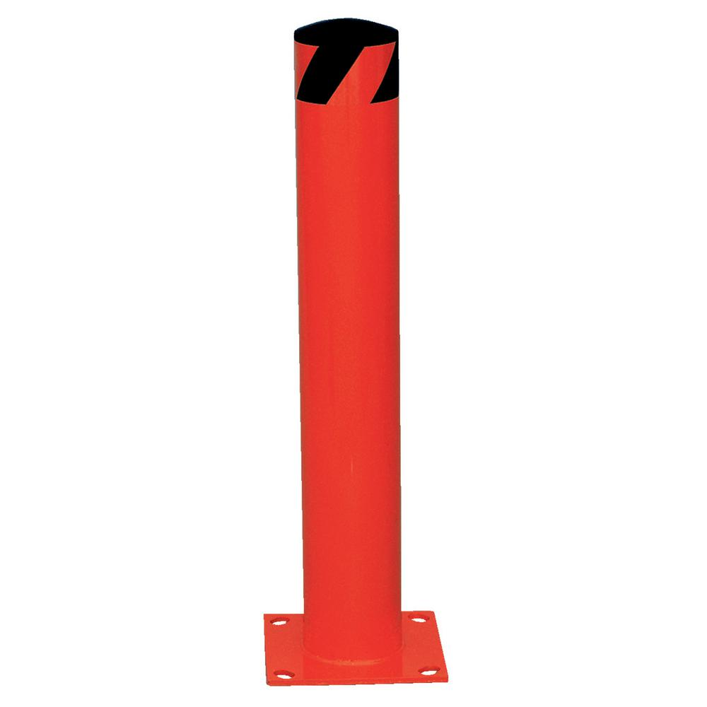 24 in. x 5.5 in. Red Steel Pipe Safety Bollard
