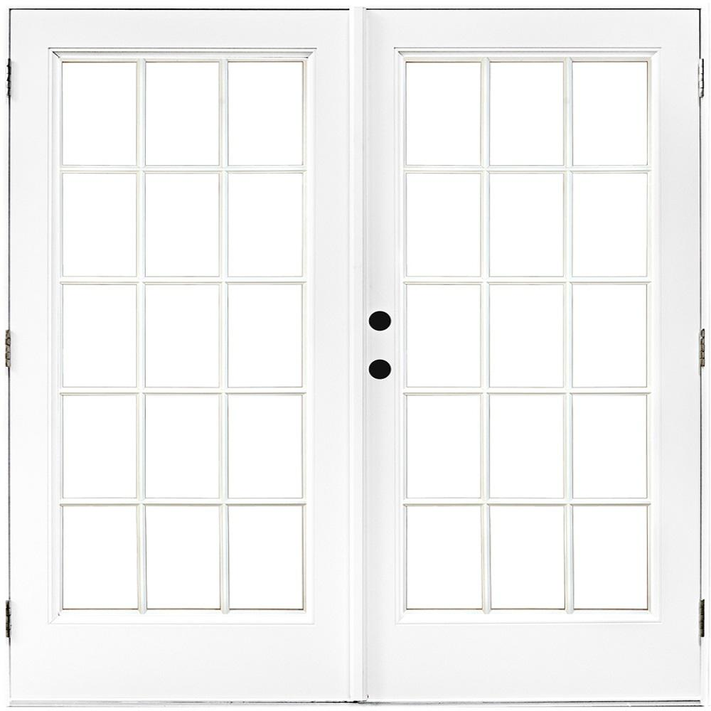 72 in. x 80 in. Fiberglass Smooth White Right-Hand Outswing Hinged