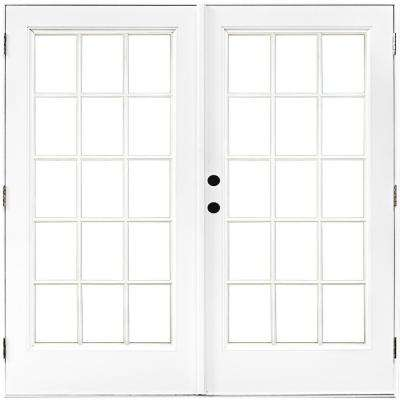 72 in. x 80 in. Fiberglass Smooth White Right-Hand Outswing Hinged Patio Door with 15-Lite SDL