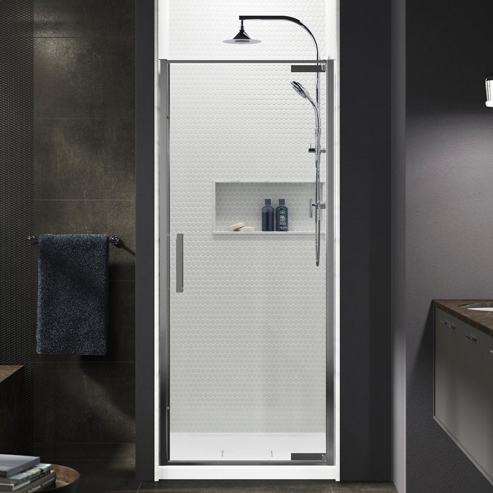 KOHLER Torsion 36 in. W x 76.75 in. H Frameless Pivot Shower Door in Bright Polished Silver with Handle was $614.31 now $245.72 (60.0% off)