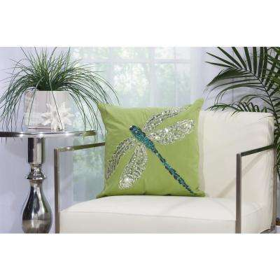 Beaded Dragonfly 18 in. x 18 in. Green and Turquoise Indoor and Outdoor Pillow