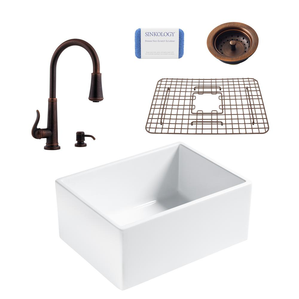 SINKOLOGY Wilcox All-in-One Farmhouse Apron Fireclay 24 in. Single Bowl Kitchen Sink with Pfister Bronze Faucet and Drain