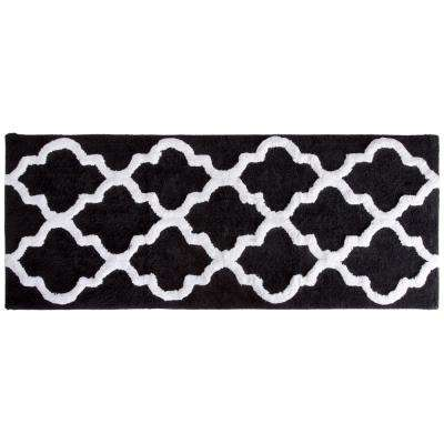 Trellis Black 24 in. x 60 in. Bathroom Mat