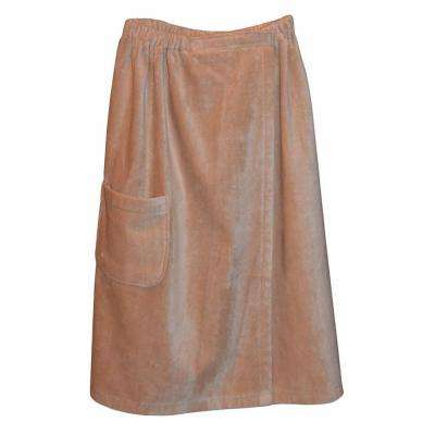 Women's Spa and Bath Terry Cloth Towel Wrap in Tan