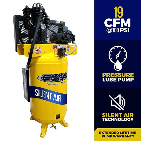 Industrial Series 80 Gal. 5 HP 1-Phase Silent Air Electric Air Compressor with Pressure Lubricated Pump