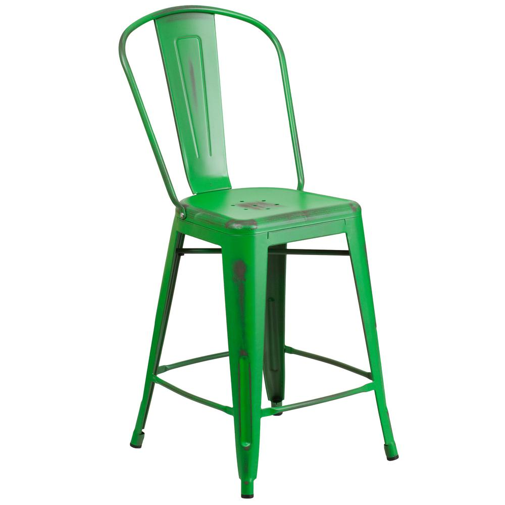 Distressed Green Bar Stool ET353424GN   The Home Depot