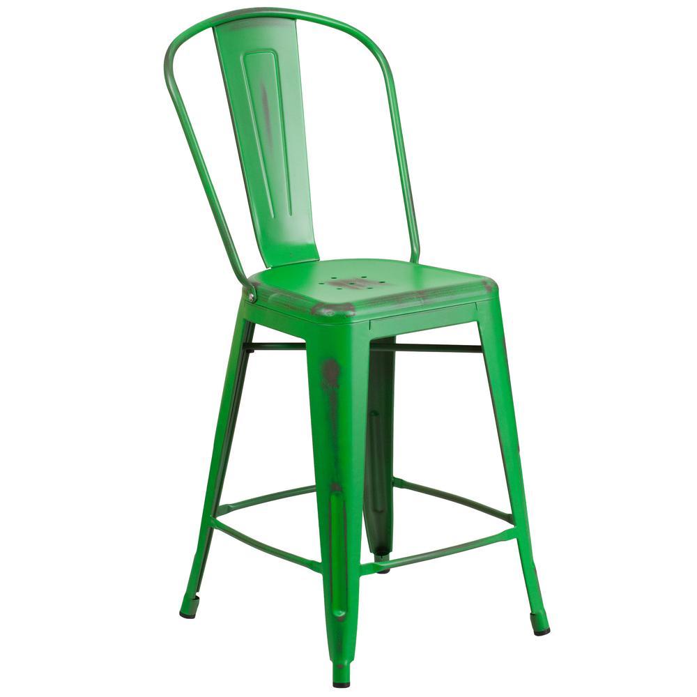 Distressed green bar stool