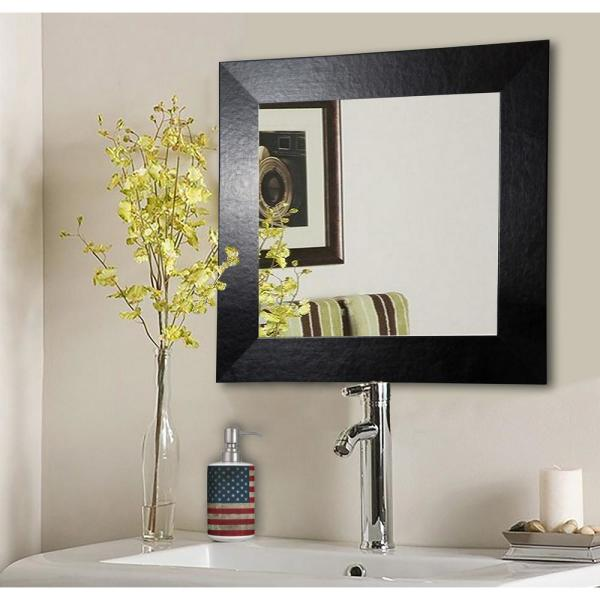 undefined 30 in. x 30 in. Black Wide Leather Vanity Square Vanity Wall Mirror
