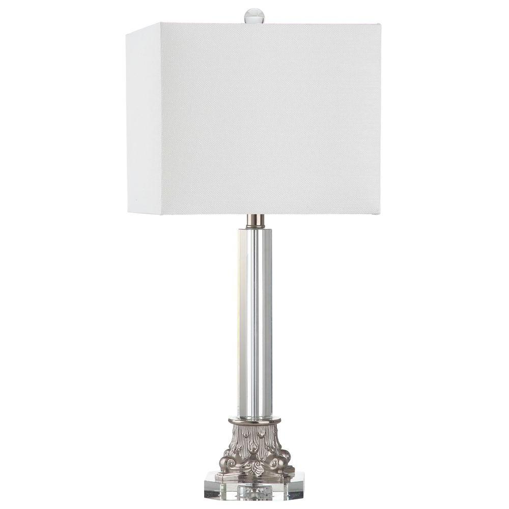 Clear And Silver Table Lamp With Off White Shade