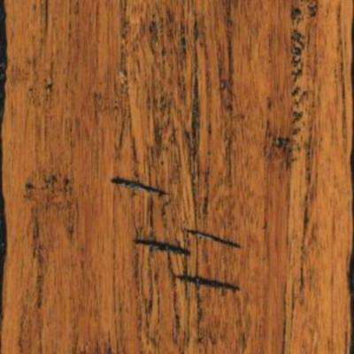 Hand Scraped Strand Woven Antiqued Solid Bamboo Flooring - 5 in. x 7 in. Take Home Sample