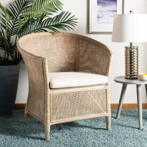 Super Safavieh Alexana Grey White Wash Rattan Linen Accent Chair Ocoug Best Dining Table And Chair Ideas Images Ocougorg