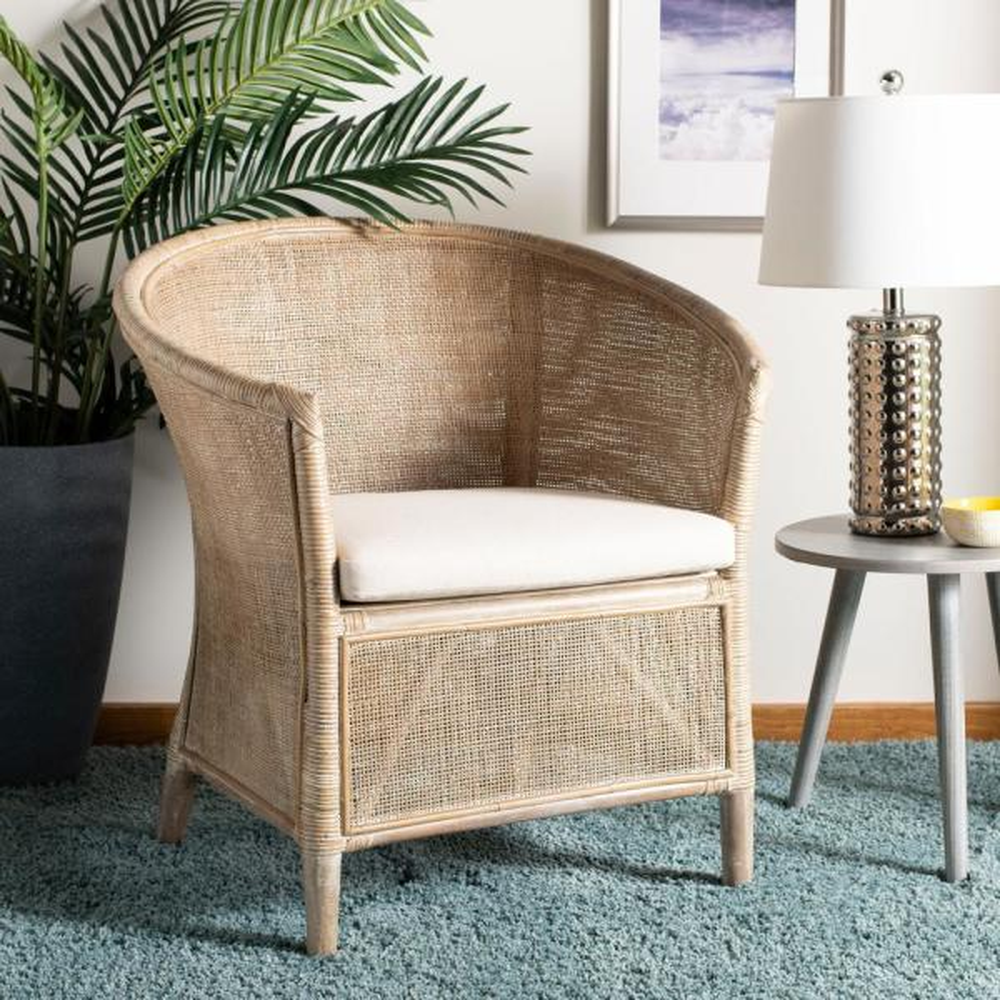 Safavieh Alexana Grey White Wash Rattan/Linen Accent Chair ACH6502A