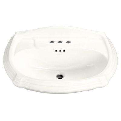 Portrait 7-1/4 in. Vitreous China Pedestal Sink Basin in White with Overflow Drain