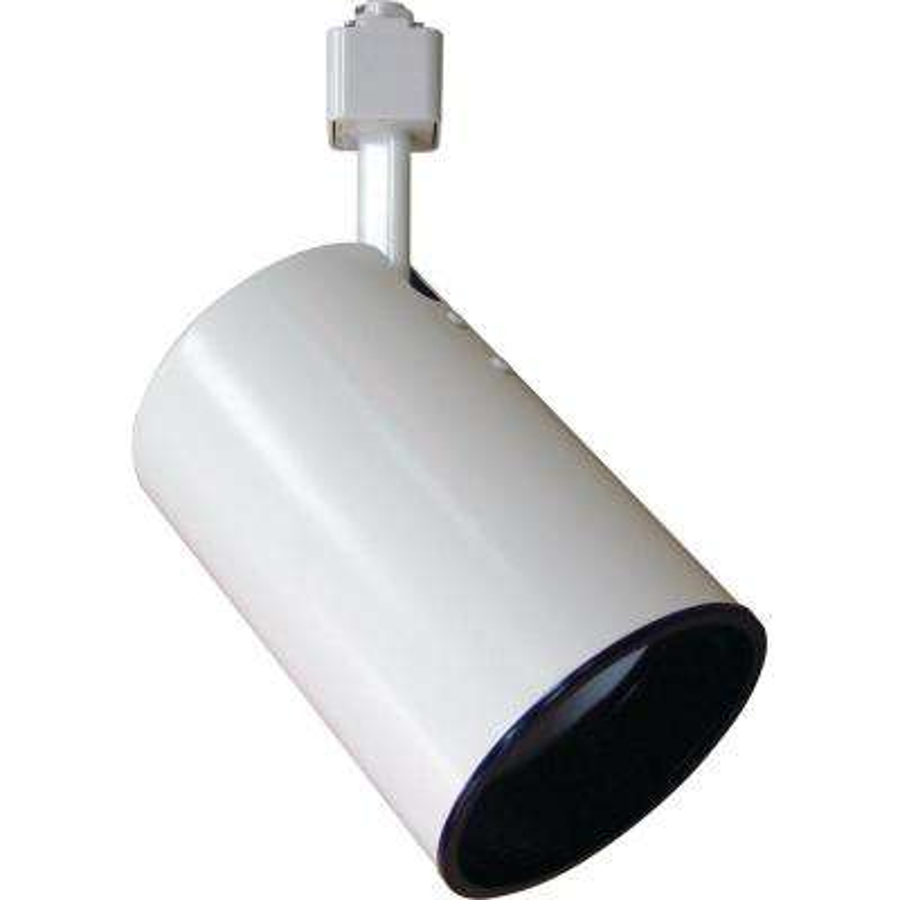 1-Light White Adjustable Large Flat Back Cylinder Track Lighting Head