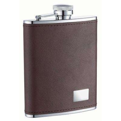 Hunter Dark Brown Leather Stainless Steel Liquor Flask