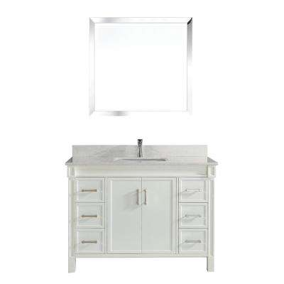 Serrano 48 in. W x 22 in. D Vanity in White with Thin Engineered Vanity Top in White with White Basin and Mirror