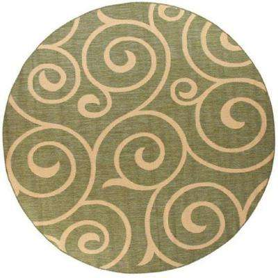 Whirl Natural/Sage 9 ft. Round Area Rug