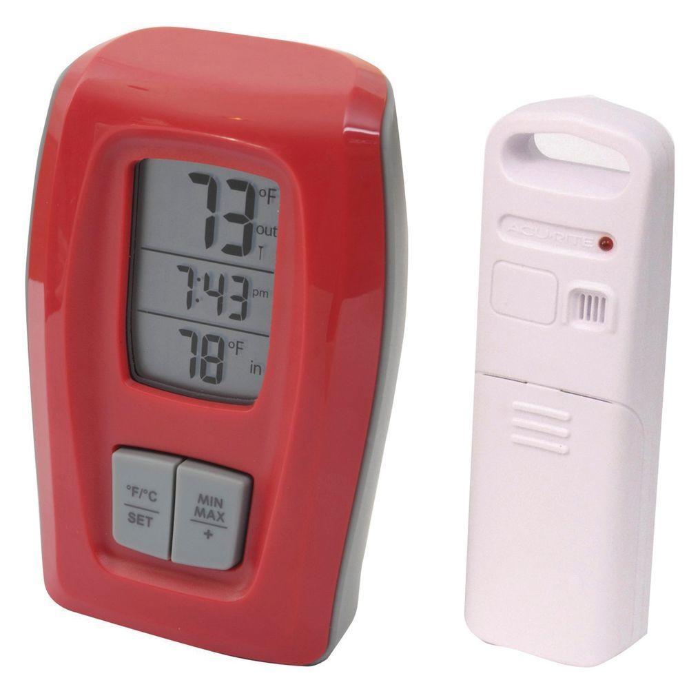 AcuRite Digital Wireless Thermometer with Red Clock