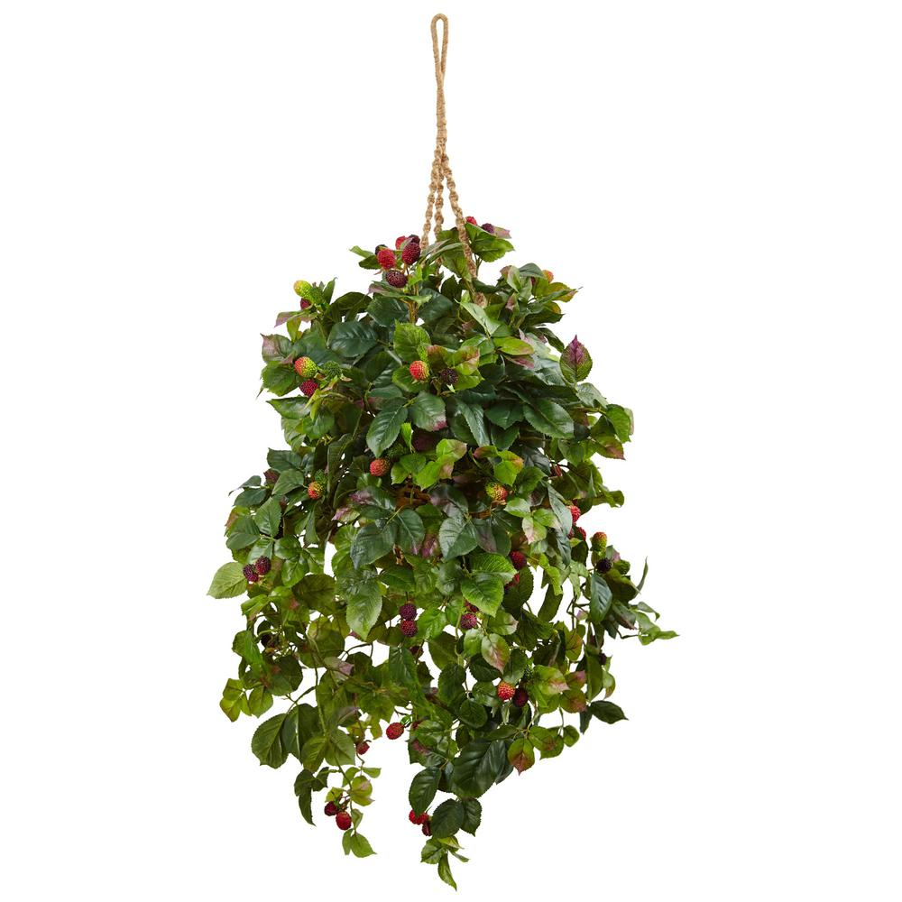 Nearly Natural Indoor Raspberry Plant Silk Hanging Basket 6996 .