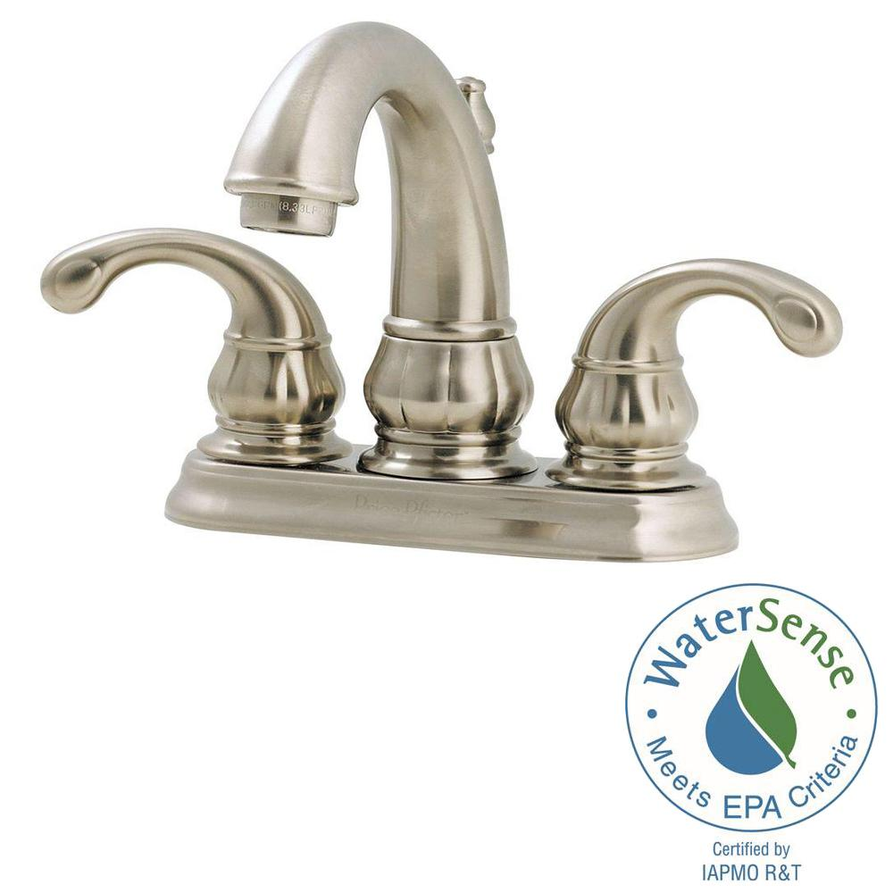 Centerset 2 Handle Bathroom Faucet In Brushed Nickel