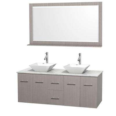 Centra 60 in. Double Vanity in Gray Oak with Marble Vanity Top in Carrara White, Porcelain Sinks and 58 in. Mirror