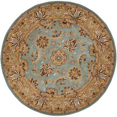 Heritage Blue/Gold 8 ft. x 8 ft. Round Area Rug