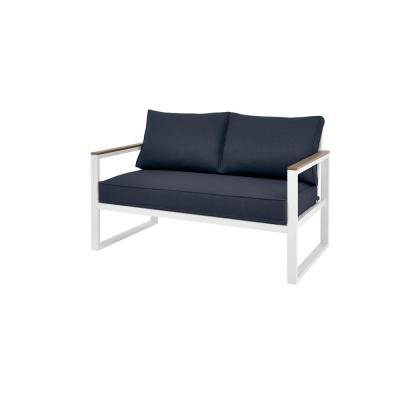 West Park White Aluminum Outdoor Patio Loveseat with CushionGuard Midnight Navy Blue Cushions