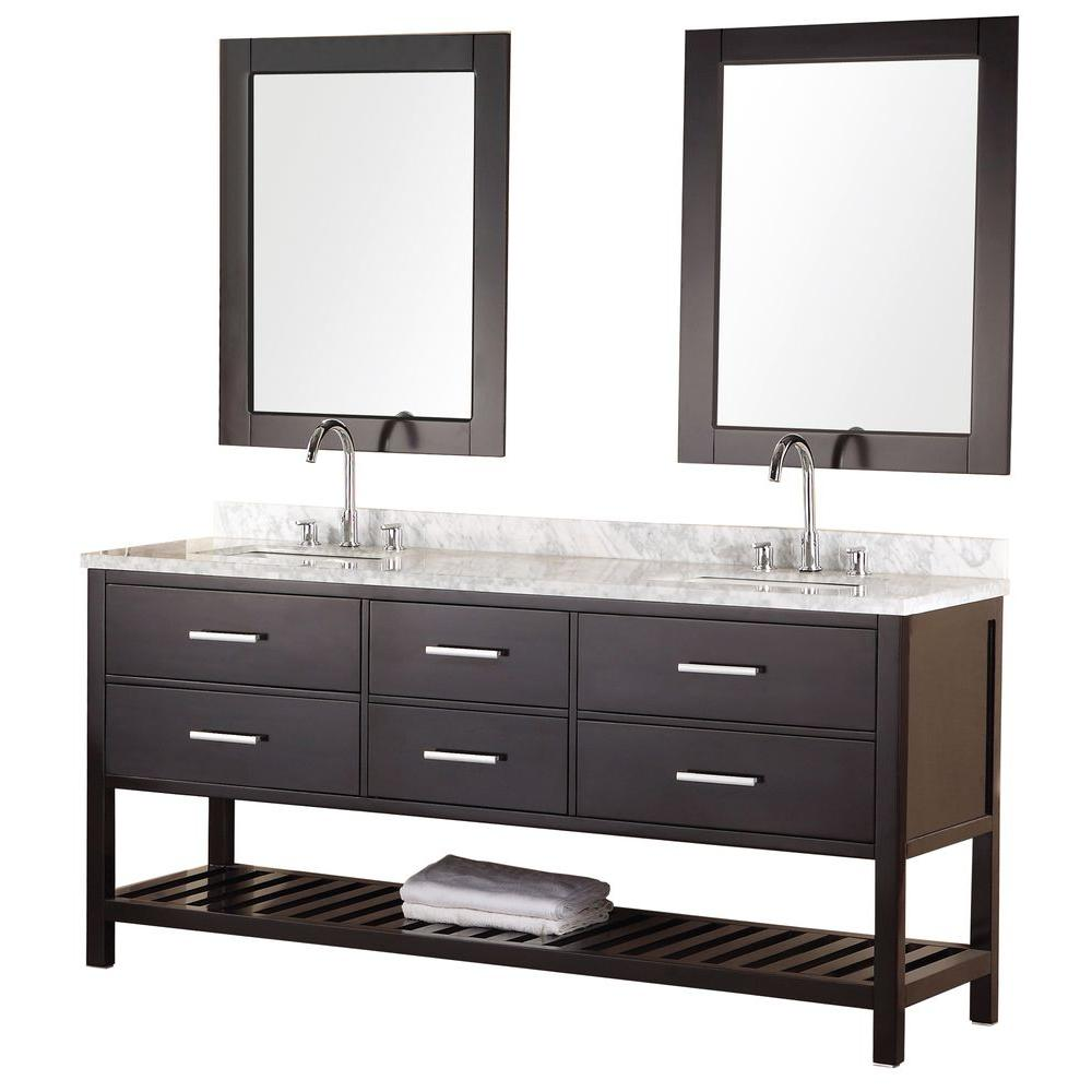 Design Element Mission 72 in. W x 22 in. D Vanity in Espresso with Marble Vanity Top and Mirror in Carrera White