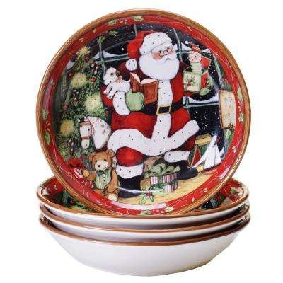 Santa's Workshop 8.5 in. Red Soup and Pasta Bowl (Set of 4)