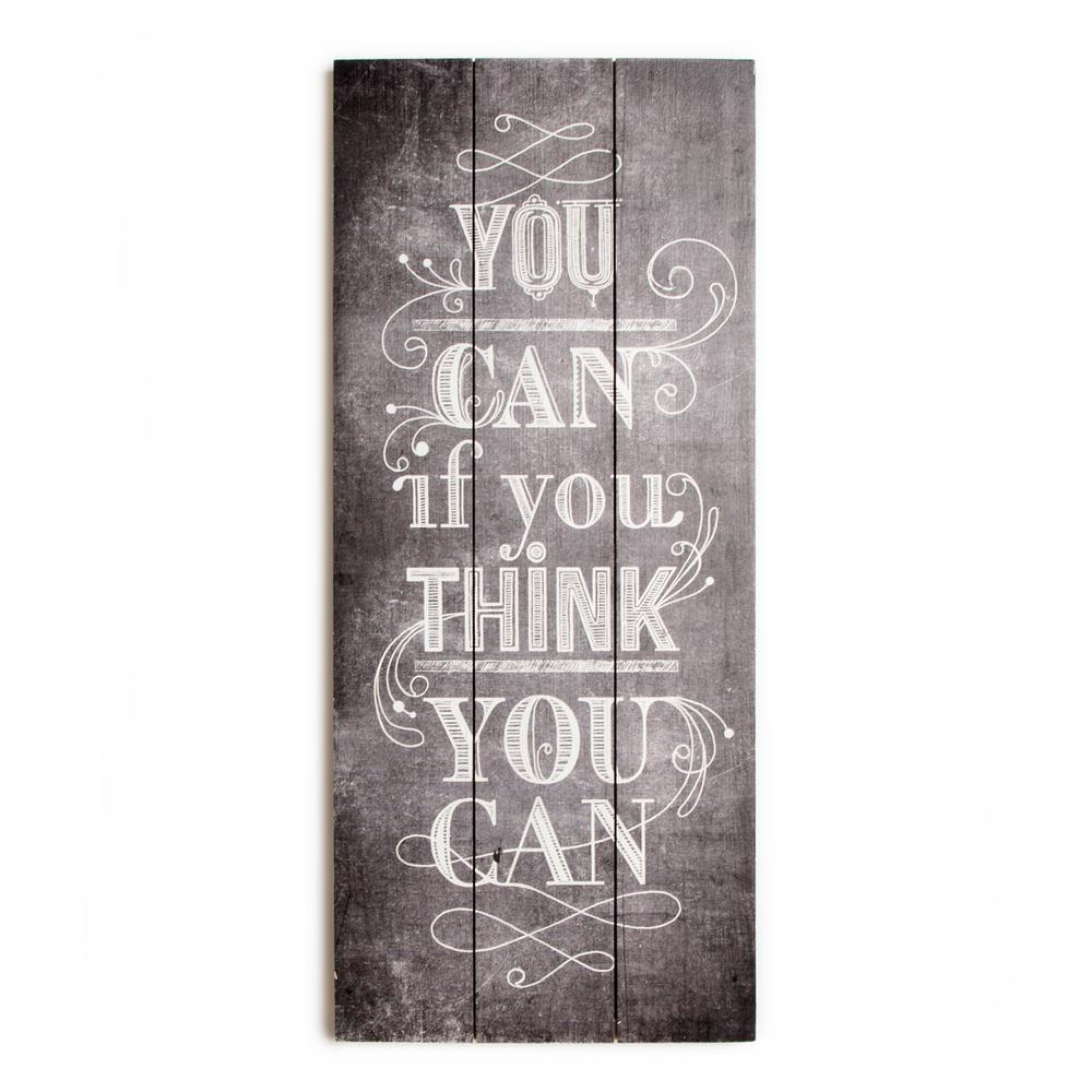 "28 in. x 12 in. ""You Can"" Wooden Wall Art"