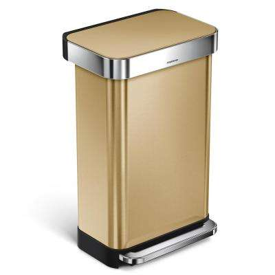12 Gal. Stainless Steel Liner Rim Rectangular Step Trash Can in Brass