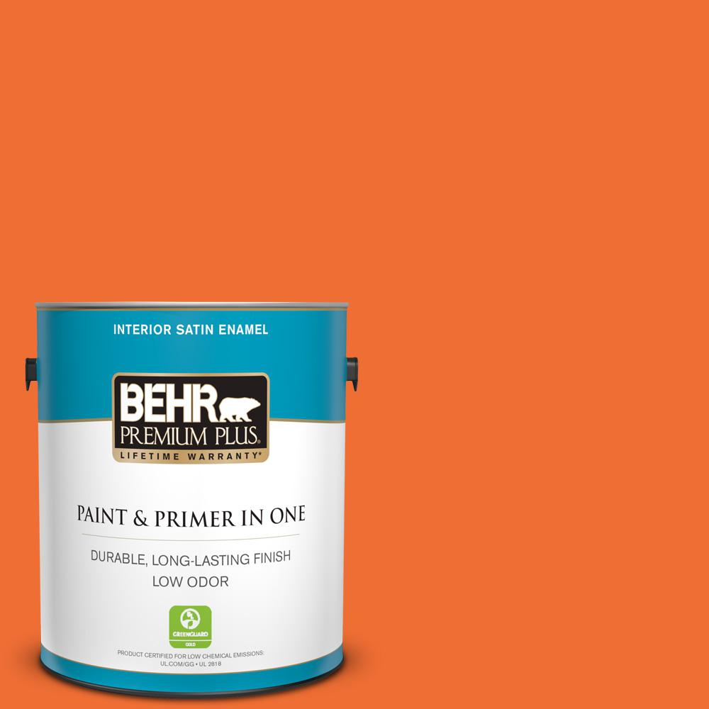 BEHR Premium Plus 1 gal  #S-G-240 Dragon Fire Satin Enamel Low Odor  Interior Paint and Primer in One