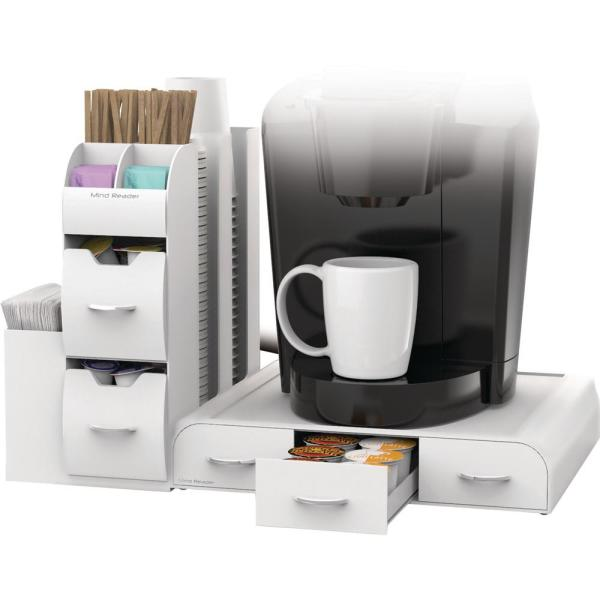 Mind Reader Pod Drawer and Condiment Caddy White Coffee Station CMB02-WHT