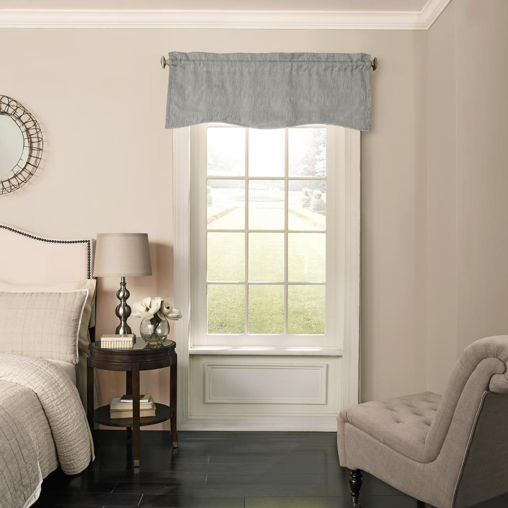 Barrou 18 in. L Polyester Rod Pocket Valance in Smoke (1-Pack)