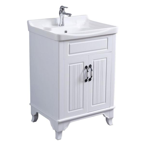 Renovators Supply Manufacturing Adeline 24 1 4 In Large Bathroom Vanity Sink Combo In White With Faucet Drain And Overflow 22223 The Home Depot