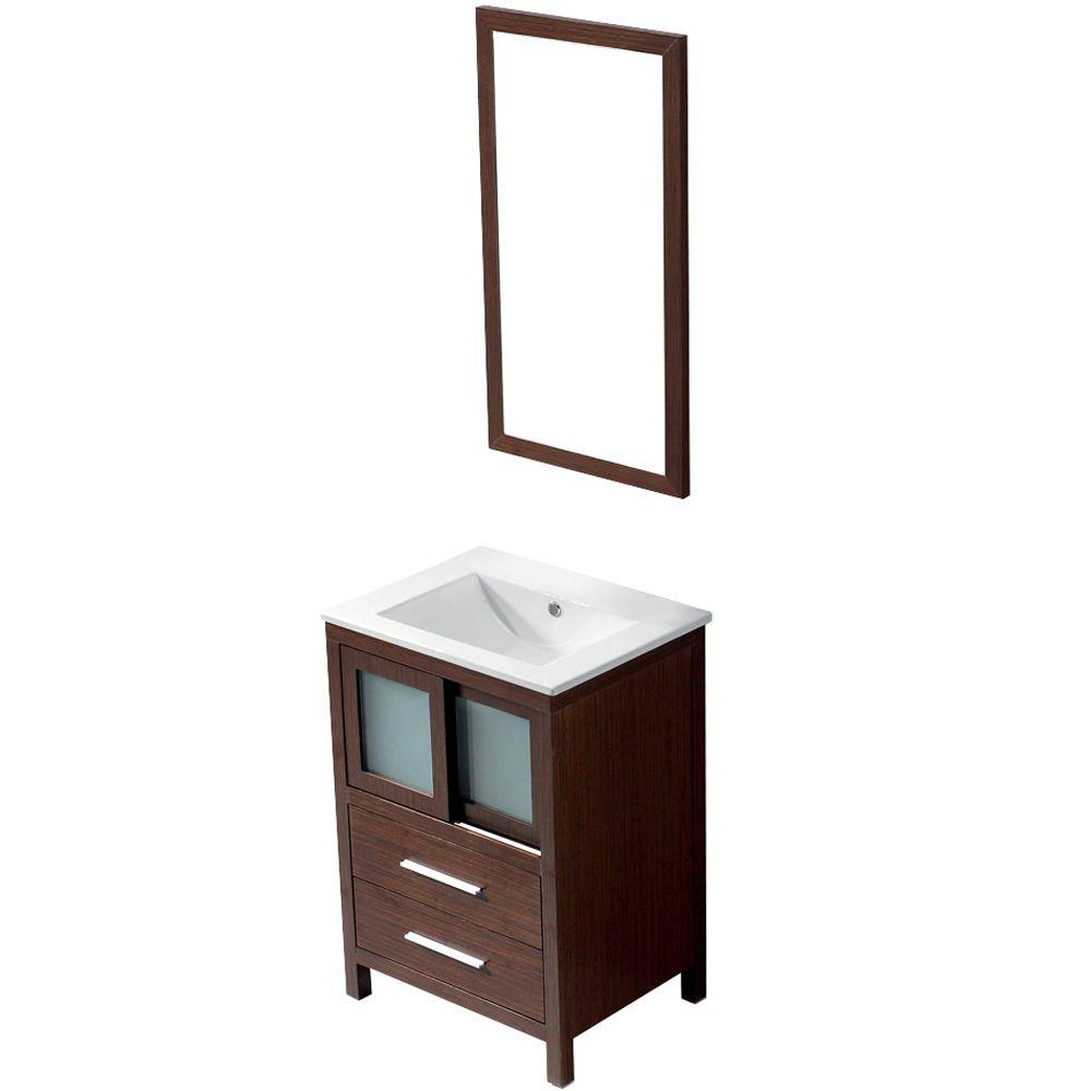 Vigo 24 in. W x 18.5 in. D x 34 in. H Single Bathroom Vanity in Wenge with Vanity Top and Mirror in White-DISCONTINUED