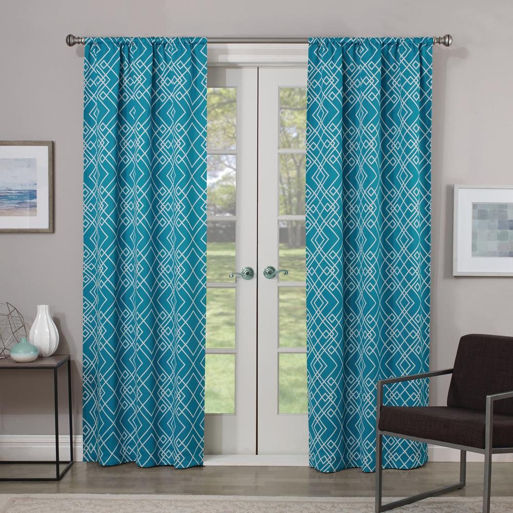 Eclipse Blackout Paloma 84 in. L Teal Rod Pocket Curtain