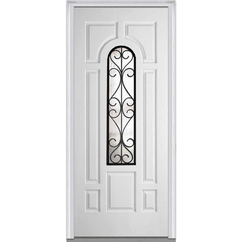 36 in. x 80 in. Camelia Left-Hand Center Arch Lite 7-Panel