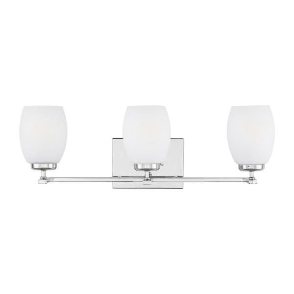 Catlin 24 in. 3-Light Chrome Vanity Light with Etched White Inside Glass Shades