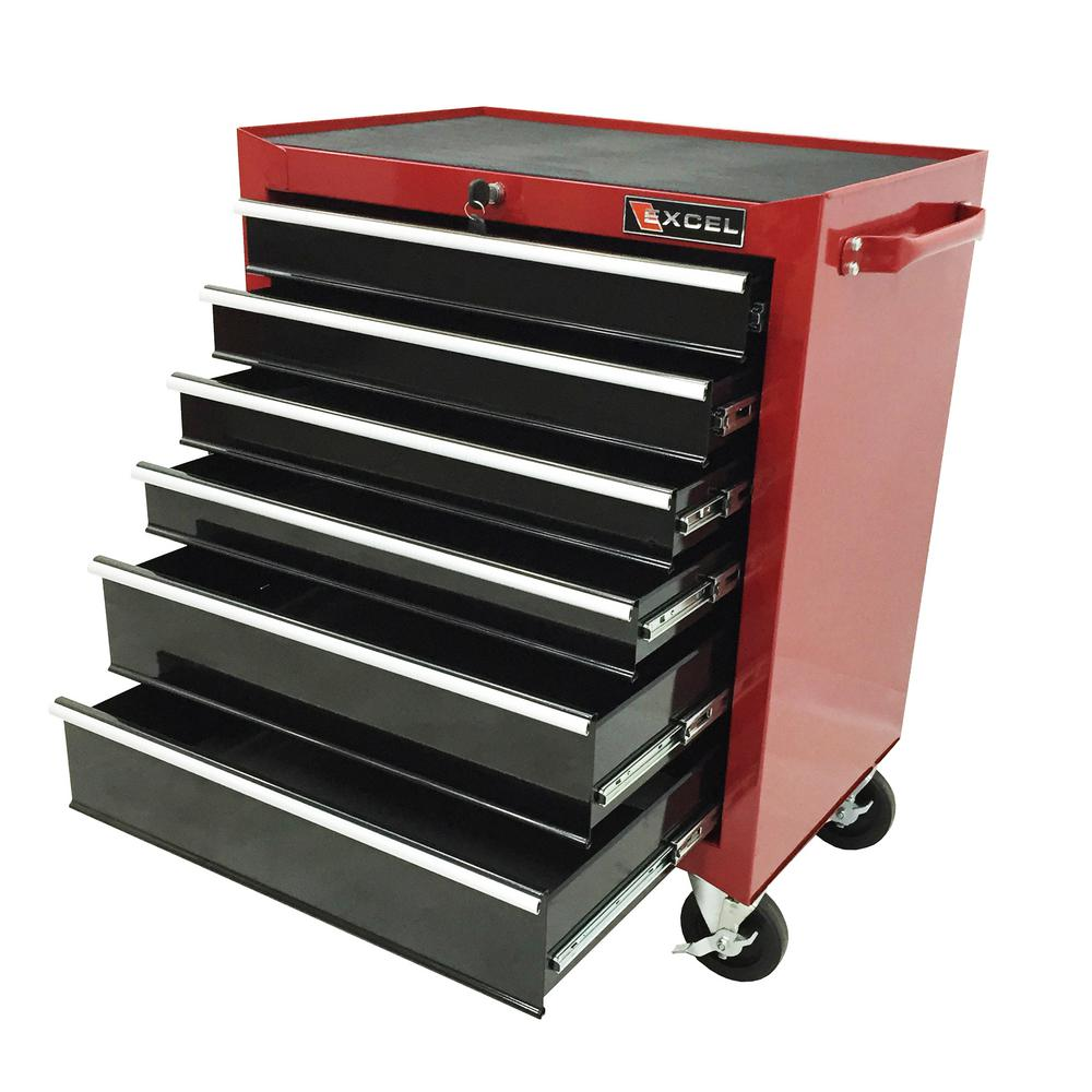 Excel 26 in. 6 Drawer Roller Cabinet Tool Chest Red-TB2040BBSB ...