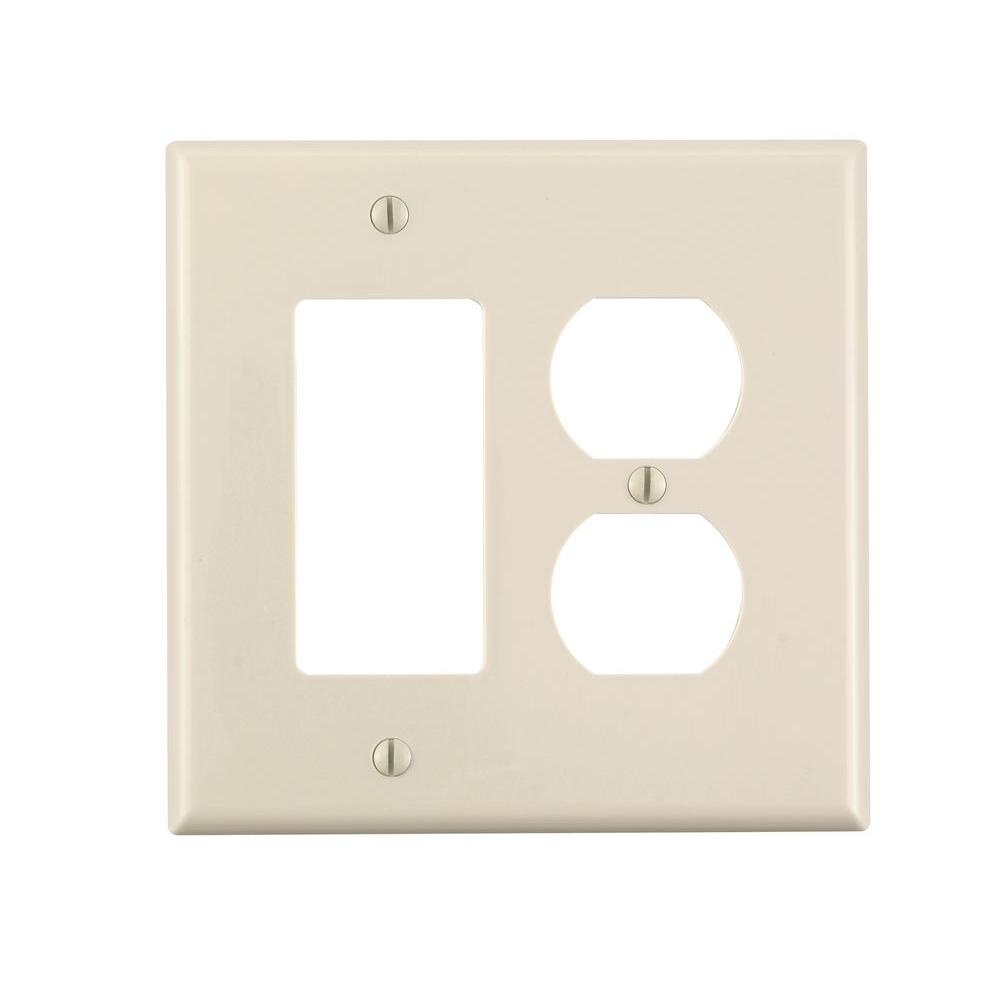 Leviton Decora 2-Gang Midway 1-Duplex Outlet Combination Nylon Wall Plate, Light Almond