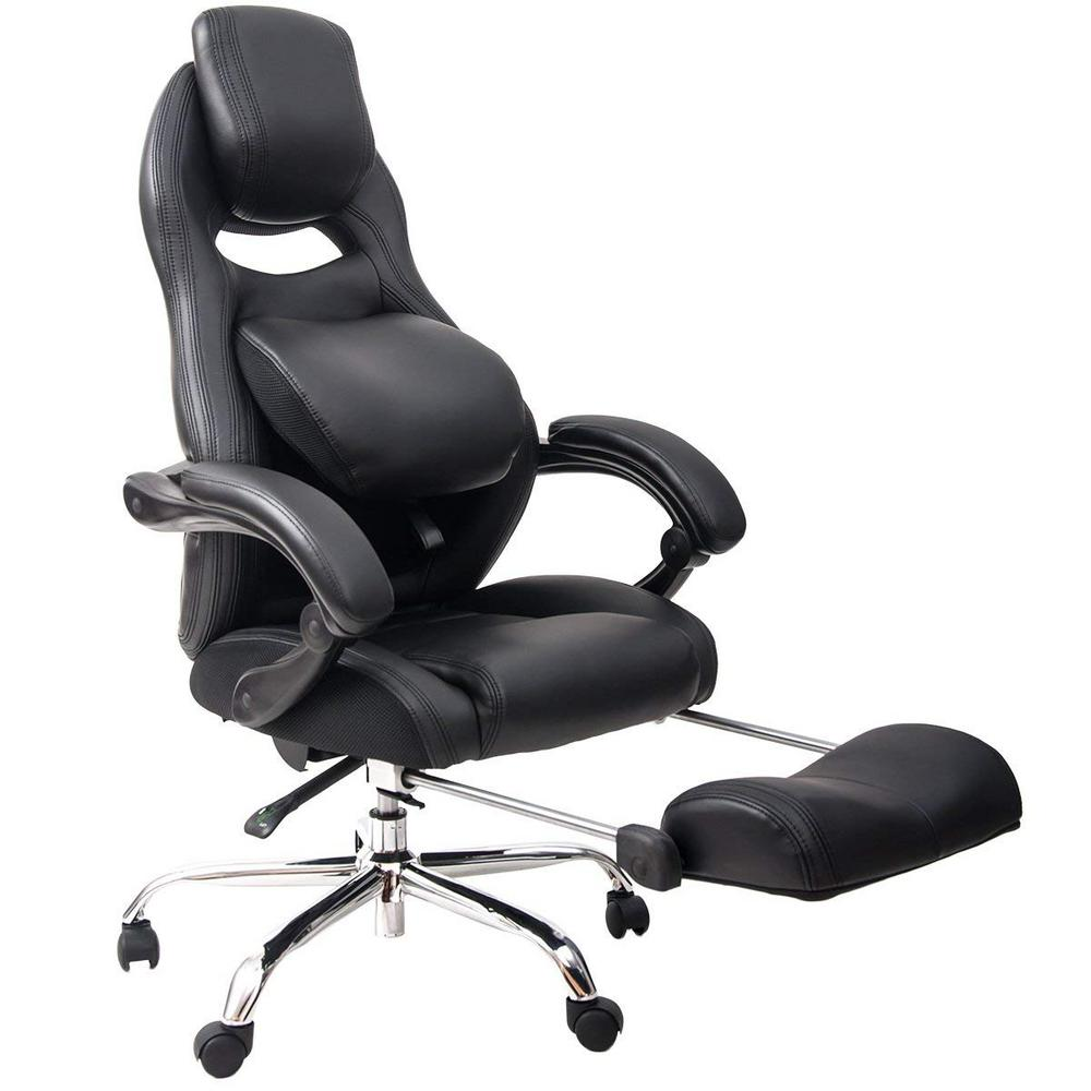 merax black faux leather with lumbar support and footrest home office chair pp036982baa the. Black Bedroom Furniture Sets. Home Design Ideas