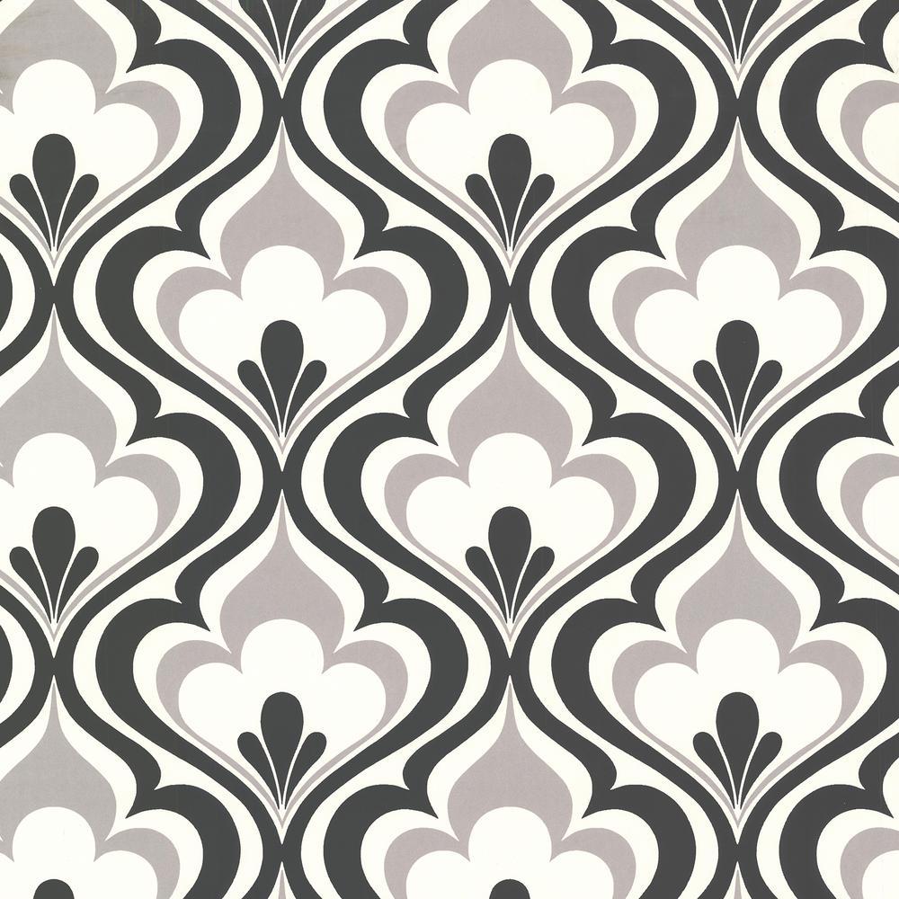 Beacon House Lola Black Ogee Bargello Wallpaper