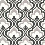 Lola Black Ogee Bargello Strippable Roll Wallpaper (Covers 56 sq. ft.)
