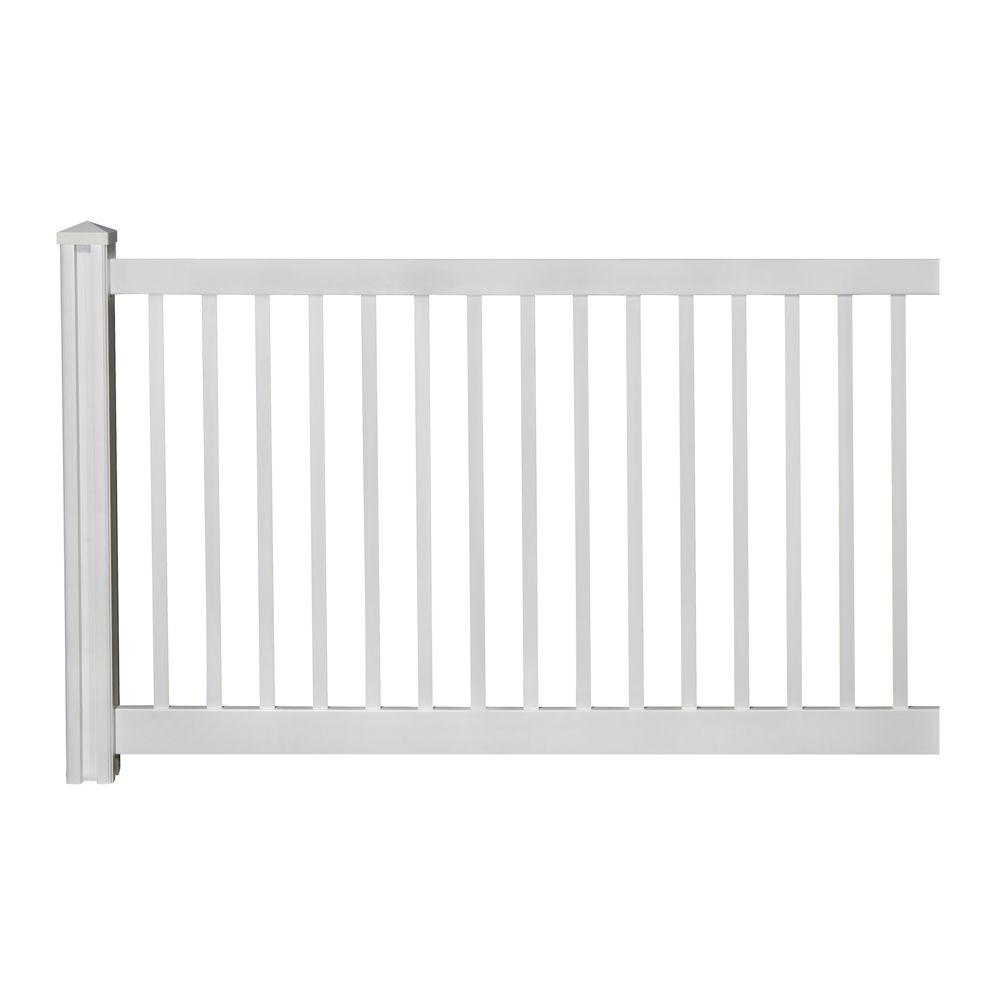 Wambam Fence 4 Ft H X 7 Ft W Premium Vinyl Yard And Pool Fence Panel With Post And Cap Vf13002