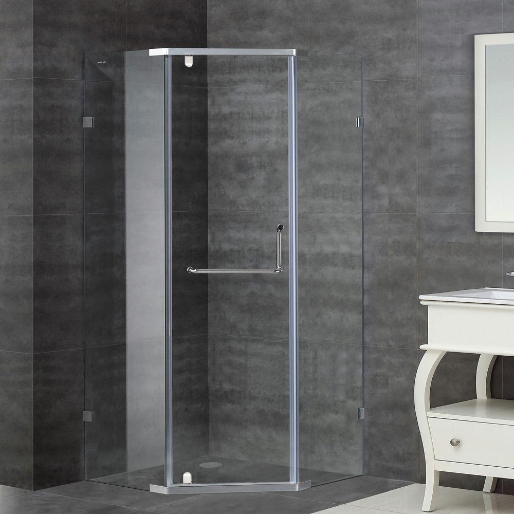 Aston SEN973 36 in. x 75 in. Semi-Framed Neo-Angle Pivot Shower Enclosure in Stainless Steel with Clear Glass